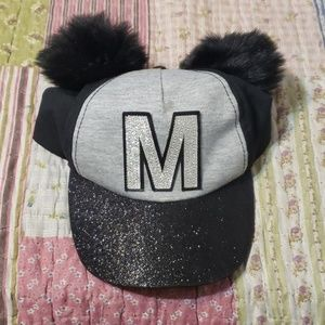 NWOT Girl Mickey hat with glitter and pom pom ears